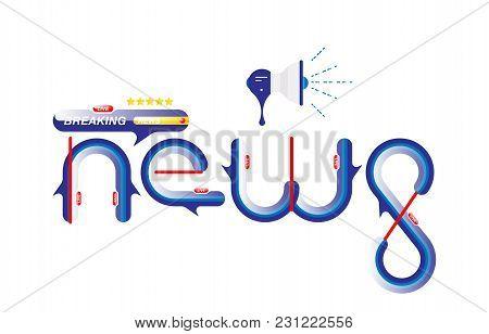 Breaking News, Original Sign And Loudspeaker On White Background. Flat Vector Illustration Eps10