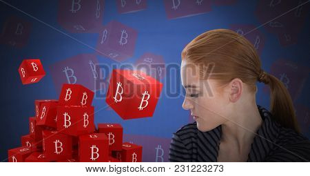 Digital composite of Bit coin icon symbols and Businesswoman with eyes closed and dark background