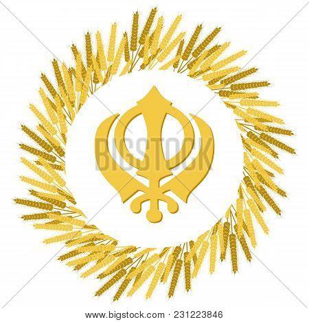 Holiday Baisakhi. New Year Of The Sikhs. Wreath Of Wheat. On A Red-orange Background. Khanda Sikh Sy