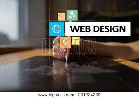 Web Design And Development Concept On The Virtual Screen