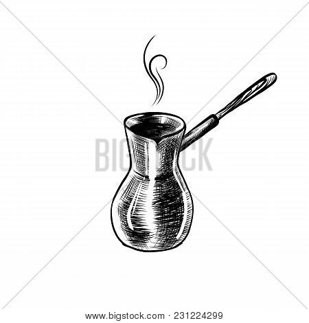 Hand Drawn Icon With Coffee Maker, Turk. Sketch Coffee Illustration In Monochrome Style. Great For L