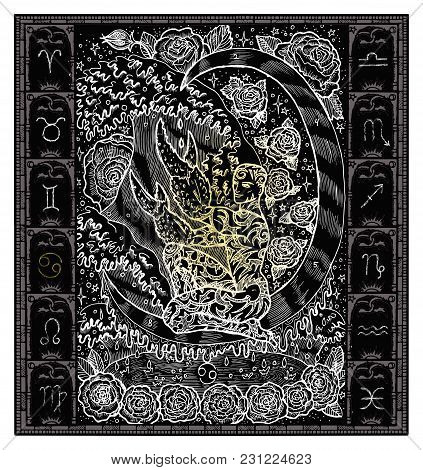 White Silhouette Of Fantasy Zodiac Sign Cancer In Gothic Frame On Black. Hand Drawn Engraved Illustr