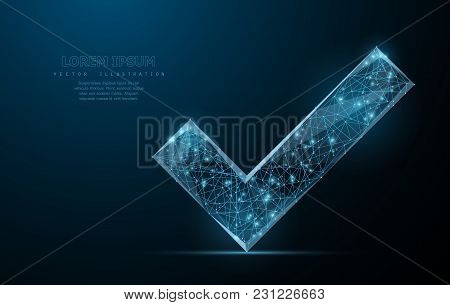Checkmark. Low Poly Wireframe Mesh Looks Like Constellation On Blue Night Sky With Dots And Stars. A