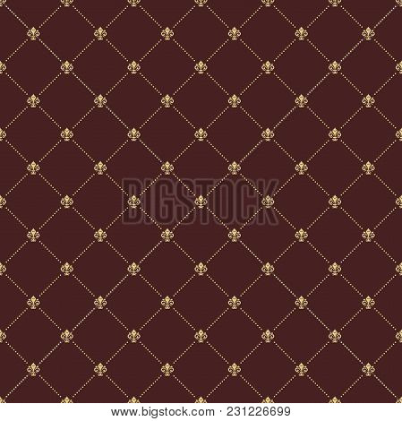Geometric Dotted Vector Brown And Golden Pattern. Seamless Abstract Modern Texture For Wallpapers An