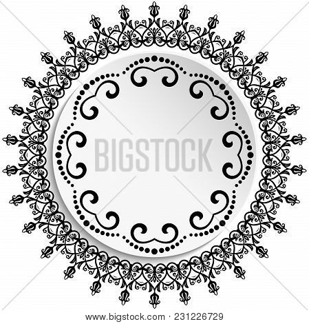 Round Vector Frame With Floral Elements And Arabesques. Pattern With Arabesques. Black And White Gre