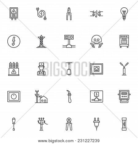 Electrician Elements Outline Icons Set. Linear Style Symbols Collection, Line Signs Pack. Vector Gra