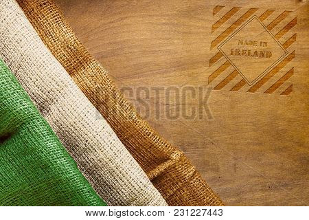 Three-color Flag Of Ireland And Symbol Made In