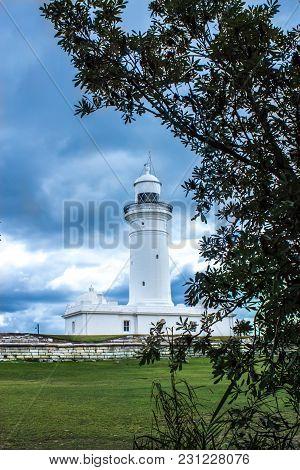 Macquarie Lighthouse Vaucluse South Head Sydney Australia Under Cloudy Skies