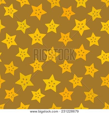 Carambola Simple Seamless Pattern Yellow Orange Claret Slice Fruit On Brown Beige Background. Vector