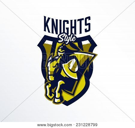 Logo, Emblem, Sticker, Badge Of A Knight Galloping On A Horse. A Warrior In Iron Armor, A Swordsman,