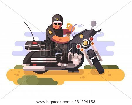 Police Officer With Donut And Coffee On Motorcycle. Policeman Biker Eating, Moto Patrol, Vector Illu