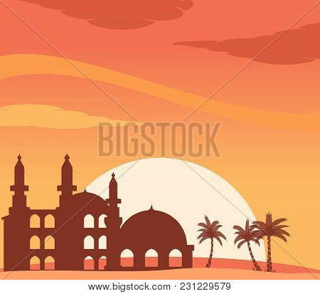 Vector Illustration Of Mosque Silhouette At Sunset Background. Suitable For Islamic Day Theme.