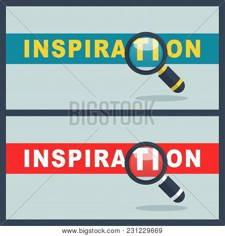 Illustration Of Inspiration Word With Magnifier Concept
