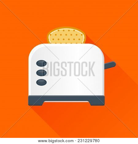 Illustration Of Bread Toaster With Long Shadow