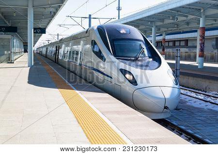View Of A Crh High-speed Bullet Train At The Yanjixi Railway Station, Jilin, China