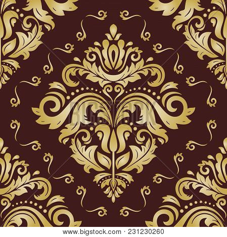 Orient Vector Classic Pattern. Seamless Abstract Brown And Golden Background With Vintage Elements.