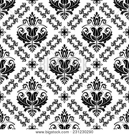 Classic Seamless Vector Pattern. Damask Orient Black And White Ornament. Classic Vintage Background