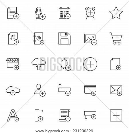 Add Objects Outline Icons Set. Linear Style Symbols Collection, Line Signs Pack. Vector Graphics. Se