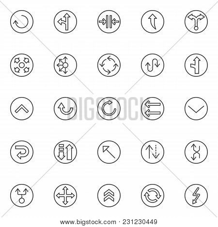 Arrows Variety Outline Icons Set. Linear Style Symbols Collection, Line Signs Pack. Vector Graphics.