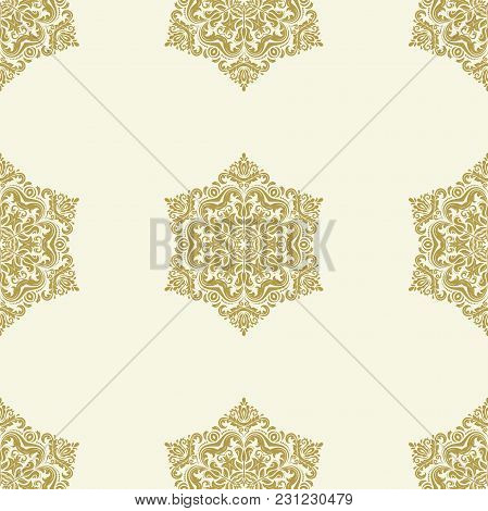 Orient Vector Classic Pattern. Seamless Abstract Background With Vintage Golden Elements. Orient Bac