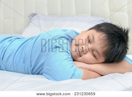 Obese Fat Boy Sweet Dream On His Arm On Bed, Healthy Concept