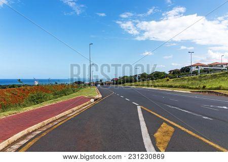 Highway Leading From Mhlanga Rdge Toward Durban City Skyline