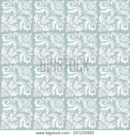 Orient Vector Classic Blue And White Pattern. Seamless Abstract Background With Vintage Diagonal Ele