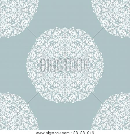 Damask Orient Ornament. Classic Vintage Background With White Round Elements. Classic Seamless Vecto