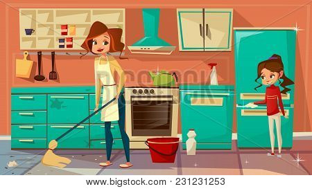 Vector Cartoon Mother Daughter Girl Helps Cleaning Kitchen Together, Doing Household Chores. Female