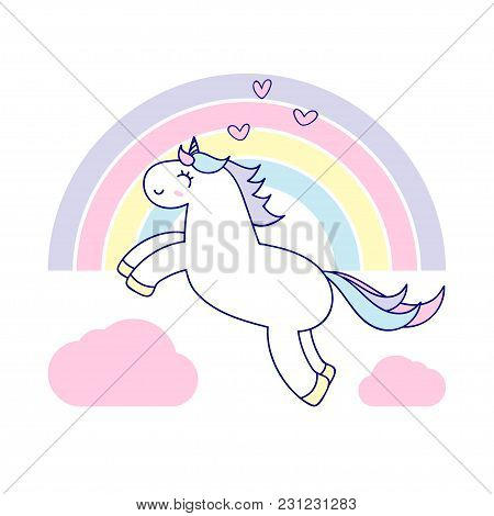 The Unicorn Flies Among The Rainbow And Pink Clouds.
