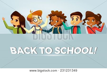 Vector Cartoon Back To School Education Poster Banner Background Template With Multinational Kids