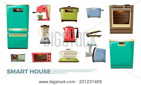 Vector Cartoon Smart Kitchen, Internet Of Things, Iot Modern Wireless Network Connection Appliances
