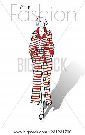 The Model Model. Beautiful Young Woman Wearing A Red Striped Coat. Fashionable Woman. A Hand Drawn G