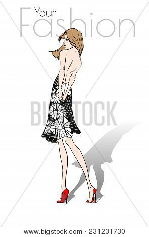 Your Fashion. Stylish Fashion Models. Fashion Girls Sketch. A Girl In A Black Dress With A Floral Pa