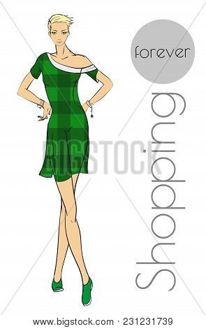 Fashionable Girl In A Dress Of A Scotch Cage. Fashion Illustration. Shopping Forever