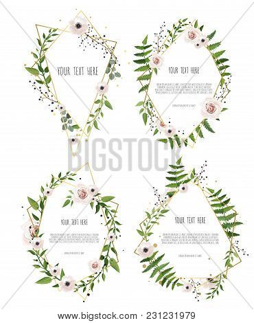 Vector Botanical Banners Set With Pink Peony And White Hydrangea Flowers. Frame Border With Copy Spa