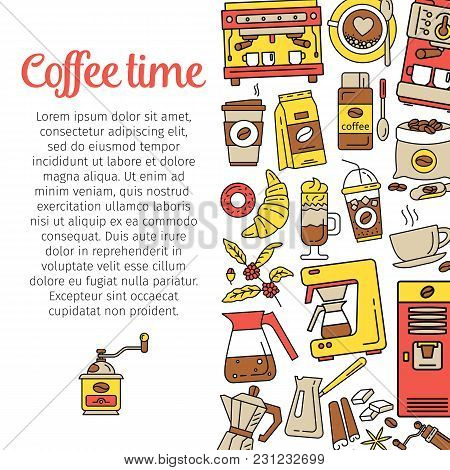 Coffee Time. Flat Line Icons For Coffee Shop. Modern Poster With Coffee Background. Coffee Pot, Cup,