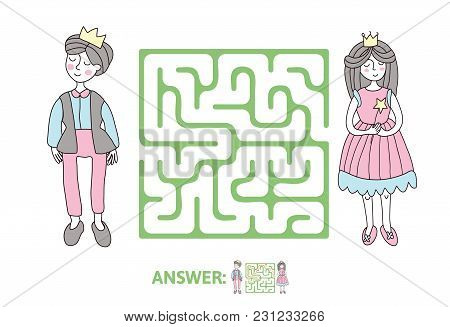 Children's Maze With Prince And Princess. Puzzle Game For Kids, Vector Labyrinth Illustration.