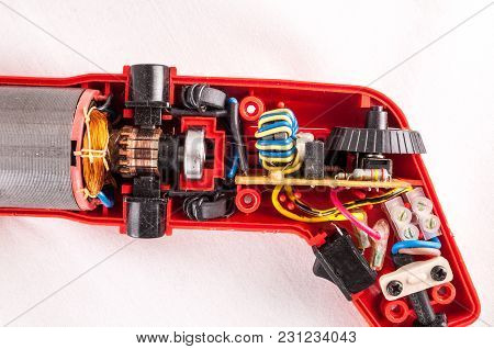 Home Technology Concept Broken Disassembled Drill Interior