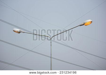 Light Of Street Lamp In Day