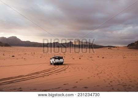 Bedouin's Car Jeep In Wadi Rum Desert In Jordan