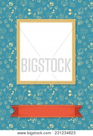Floral Greeting Card. Graceful Yellow Flowers And Plants With Drawing Effect. Yellow Frame For Custo