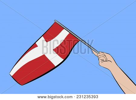 Female Hand Waving The Flag Of Denmark On A Blue Sky, Vector Illustration