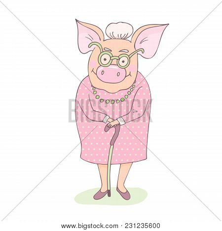 Cute And Pretty Pig Grandmother Is Wearing A Dress With Peas. Granny Is Standing And Leaning On A Ca