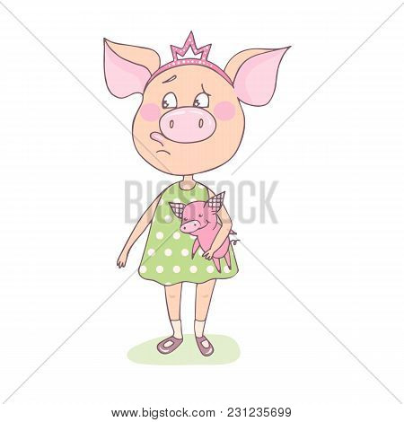 A Sweet, Offended Little Pig Is Standing With A Toy In Her Hands. A Crown Is On His Head. Funny Illu