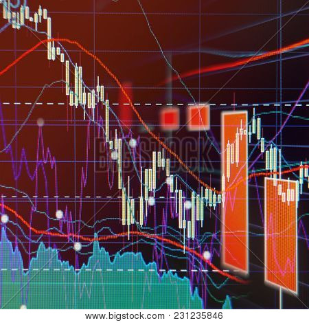 Bear Market -  Stock market graphs and charts - Financial and business background