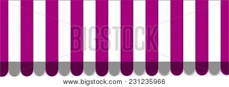 Purple Striped Carnival Information Ticket Window Booth. Vector Illustration.