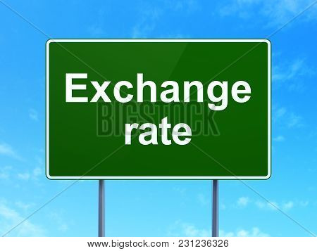 Money Concept: Exchange Rate On Green Road Highway Sign, Clear Blue Sky Background, 3d Rendering