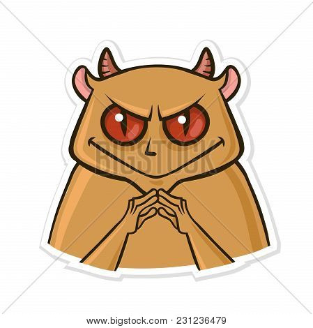 Sticker For Messenger With Funny Animal. Devil Hamster Is Up To Something. Vector Illustration, Isol