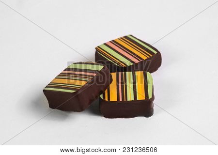 Handmade Chocolate Candy With Filling Isolated On White